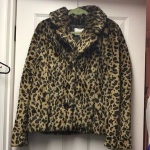 Banana Republic faux fur car jacket